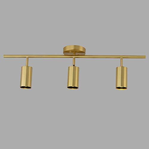 Sebasty Todos los focos expuestos de cobre luz de lujo moderno led Downlight bar tienda de ropa nórdico sala techo lámpara de pared tres cabeza L80* W28* H17CM (GU10* 1)