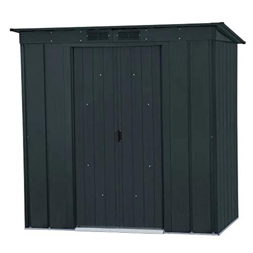 BillyOh 6x4 ft Partner Eco Pent Galvanised Steel Metal Storage Shed with Lockable Sliding Doors, Built in Ventilation, No Annual Maintenance, Anthracite