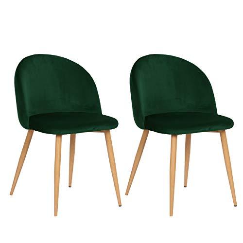 Nimara 2er Set Samt Stuhl in skandinavischem Design | Esszimmerstühle und Küchenstühle für den Esstisch aus Stoff | Esszimmerstuhl in Rosa, Grau, Dunkelgrün, Grün und Blau