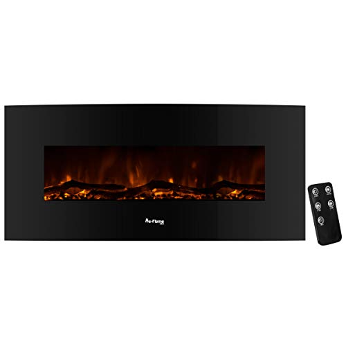 e-Flame USA Sundance Curved Wall Mounted or Freestanding Combo LED Electric Fireplace with Remote - 3D Log and Fire Effect (Black) 48-inch