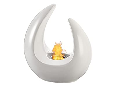 Portable Ventless Bio Ethanol Tabletop Fireplace - Mika White | Ignis