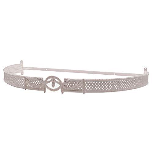 Dosel Enrejado con el Centro con borlónes, Color Blanco. Medidas: 73 x 40,5 x 7 centímetros. Material: Metal (Referencia: 0221032)