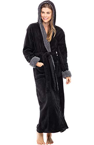 Alexander Del Rossa Women's Warm Fleece Robe with Hood, Long Plush Bathrobe, Small Medium Black with Sherpa Contrast (A0273BLKMD)