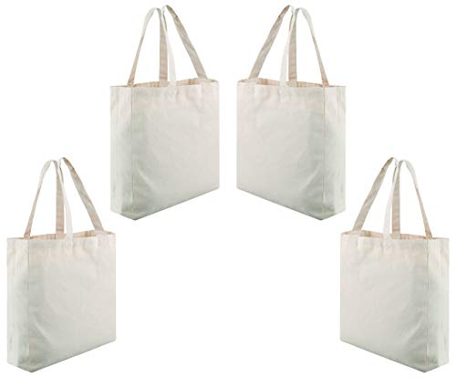 Eden Creations Reusable Canvas Grocery Shopping Tote Bags Heavy Duty – 4 Pack 16 X 16 X 42 Inches – 12 Ounce – Blank Cotton Canvas Craft Totes Bulk – Washable with Flat Bottom Gusset and Side Panel