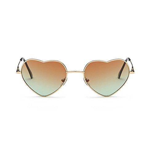 Lubier - Gafas de sol para mujer, diseño de corazón, con marco dorado, color verde