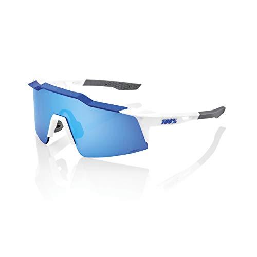 100% Speedcraft SL Sport Performance Sunglasses (MATTE WHITE/METALLIC BLUE - HiPER Blue Multilayer Mirror Lens) Sport and Cycling Eyewear Delaware
