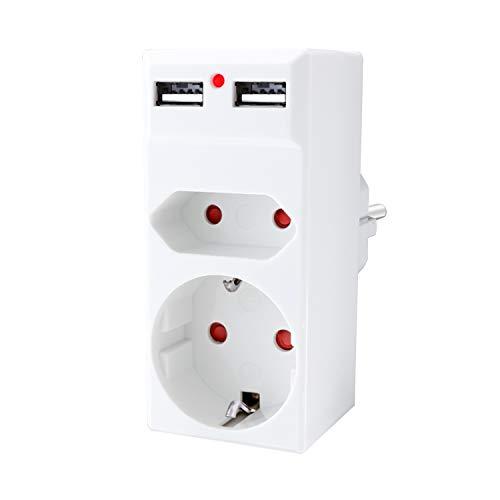 benon Steckdosen-Adapter 2-Fach - Weiß mit 2 USB - 2in1 Mehrfachstecker - Doppelstecker mit Überlastschutz und Kindersicherung - 2.4A USB (5V) - Multistecker max. 3680W