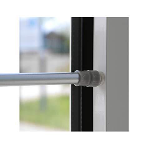 BEAUTEX Klemmstange für Fenster Gardine Länge wählbar bis 120 cm, ausdrehbar mit Saugknopf (Silber 60-90 cm)