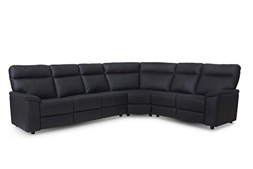 PKline Leren hoekbank sofa Haston zwart bank set woonlandschap lederen sofa lounge