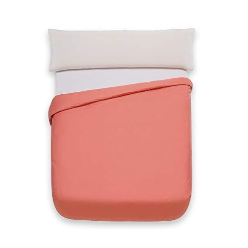 Sancarlos Básicos, Funda nórdica Lisa, Algodón 100%, Color Coral, Cama de 90