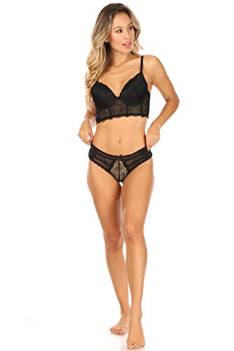 French Affair Women's Lingerie Extraordinaire Lace and Mesh Longline Push-Up Bra and Panty Set, Black, 34C/M