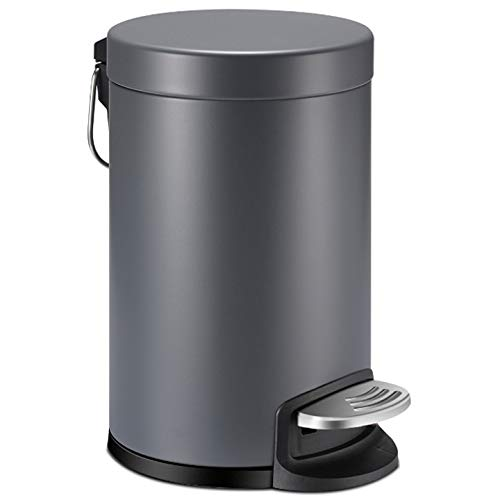 Amazon Com Yctec Mini Trash Can With Lid Soft Close Bathroom Trash Can With Removable Plastic Inner Wastebasket And Stainless Steel Foot Pedal Anti Fingerprint Matt Finish 0 8gal 3l Gray Home Kitchen