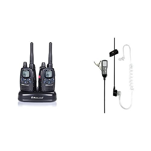 Midland G7 Pro Kit Radio Ricetrasmittente Walkie Talkie Dual Band 8 Canali Pmr446 E 69 Canali Lpd & Ma31-L Microfono Con Mono Auricolare Pneumatico, Accessorio Per Radio Ricetrasmittenti