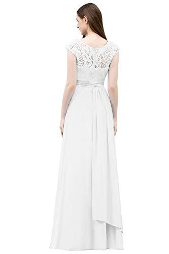 MisShow Damen Brautkelider Standesamt Kleider Wedding Dress Spitzenkleider für Hochzeit Weiß 46