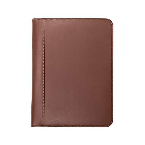 Samsill 71716 Padfolio de couro com costura contrastante – Portfólio de negócios leve e elegante para homens e mulheres – Portfólio de currículo, bloco de escrita 21 x 28 cm, marrom/marrom