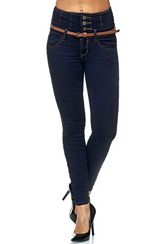 Elara Damen Jeans Skinny High Waist Hose mit Gürtel und Push Up Effekt Chunkyrayan 1577 Blue-40 (L)