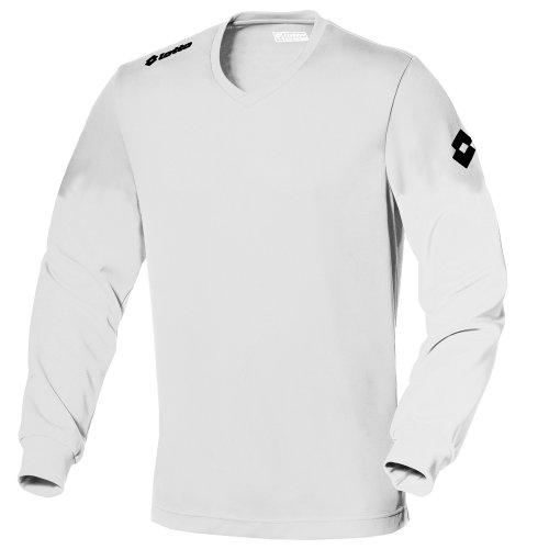 Lotto - Camiseta de fútbol Transpirable de Manga Larga Modelo EVO para Hombre (Extra Grande (XL)) (Blanco)