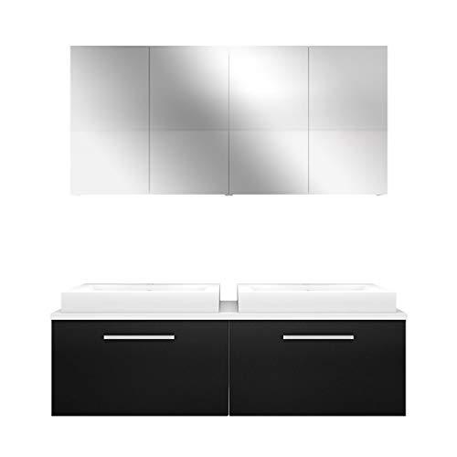AcquaVapore Badmöbel Set City 200 V1 Esche schwarz, Badezimmermöbel, Waschtisch 160 cm JA mit 2x 5W LED / 1x Energiebox