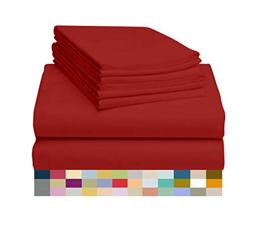 LuxClub 6 PC Sheet Set Bamboo Sheets Deep Pockets 18' Eco Friendly Wrinkle Free Sheets Machine Washable Hotel Bedding Silky Soft - Red King