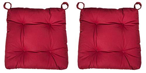 sleepling 2er Set Stuhlkissen/Sitzkissen Eva für Indoor und Outdoor, Maße: 40 (vorne) / 35 (hinten) x 38 x 8 cm, rot