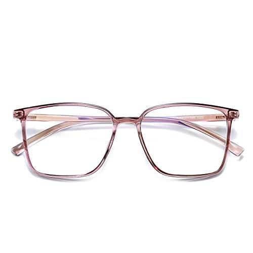 Blaulicht-blockierende Brille mit Filter, Computerbrille gegen Augenbelastung, Kopfschmerzen, quadratischer Rahmen für Damen und Herren, Pink