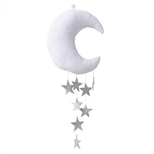 Hearsbeauty Wandhintergrund für Kinderzimmer, hängend, Mond, Sterne, gefüllte Dekoration für Babyschlafzimmer, weiß + silber