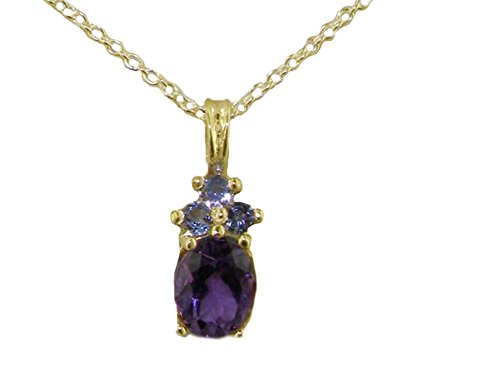 Womens Solid Yellow 10ct Gold Natural Amethyst and Tanzanite Pendant Necklace with 20' Chain