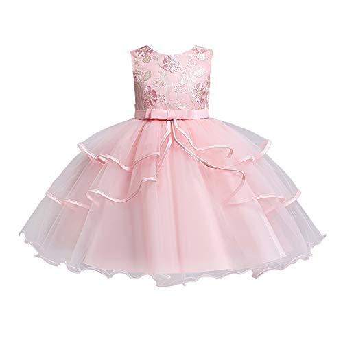BOIYI Retro Disfraz de Princesa Chicas Fancy Vestido Princesa Flor Desfile de Nios Vestido de Cosplay de Carnaval, Halloween y la Fiesta de Cumpleaos Vestidos Vestido de Fiesta(Rosa,140)