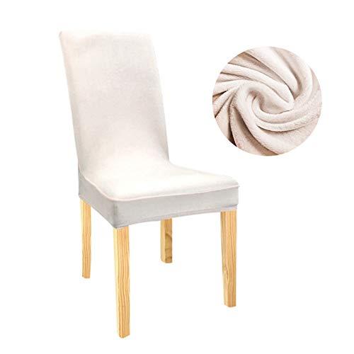 Home Office Durable Stuhlabdeckung Stuhlabdeckung Samt Stretch Dining Slipcovers Feste Farbe Spandex Plüsch Stuhlabdeckungen Protector für Haus Esszimmer ( Color : Cream , Specification : Universal )