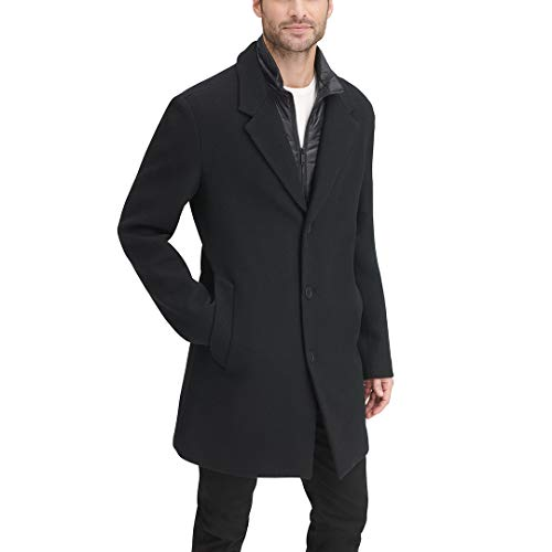 DKNY Men's Wool Blend Coat with Removable Quilted Bib, Black, X-Large