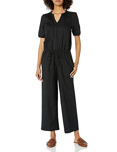 Amazon Brand - Goodthreads Women's Relaxed Fit Washed Linen Blend Button Front Jumpsuit, Black, 14