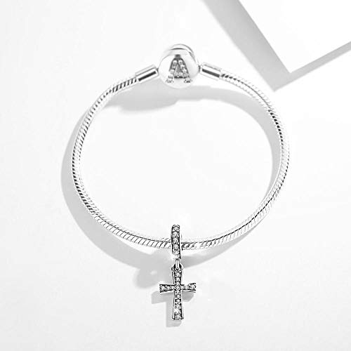 VAWAA Authentic 925 Sterling Silver Clear Zircon Cross Bead Fits Original Pandora Charm Bracelet Jewelry Making with Box