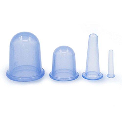 Shager 4Pcs Coupes Silicone Massage Ventouses Anti Cellulite Minceur - Ventouse Amincissante - Ventouses Silicone Massage - 5 minutes par jour- Quatre tailles (Bleu)