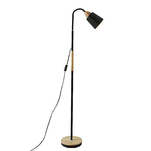 SYAODU Nordischen Stil Stehlampe, Holz & Metall Basis, Wohnzimmer Schlafzimmer Studie Auge Leselicht, E27 360 ° verstellbaren Lampenkopf Design