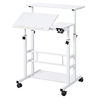 UNICOO- Height Adjustable Sit Stand Workstation, Mobile Standing Desk, Rolling Presentation Cart, Stand Up Computer Desk with Dual Surface for Home Office U101 (Ancient Oak) (B07J633M13) | Amazon price tracker / tracking, Amazon price history charts, Amazon price watches, Amazon price drop alerts