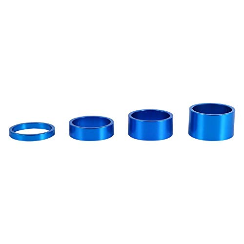 Dilwe Fahrrad Gabel Washer, 4 Farben 4 Teile/Satz 5mm / 10mm / 15mm / 20mm Aluminiumlegierung Fahrrad Vorbau Headset Spacer(Blau)