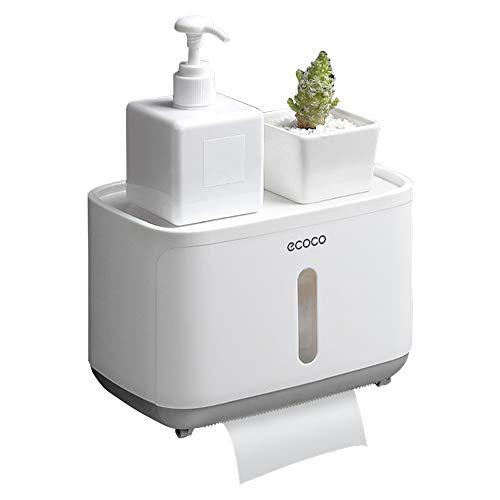 Portarrollos de papel higiénico, dispensador de toallas de papel de pared para cuarto de baño, autoadhesivo 3M, con impermeable y antipolvo