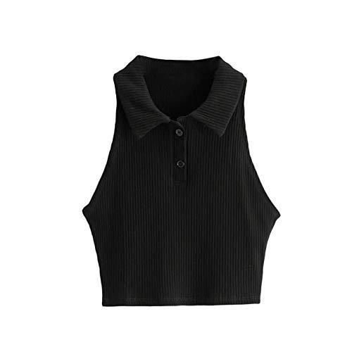 Camisetas sin Mangas de Verano para Mujer Sexy botón Frontal de Punto sin Mangas Camisa Corta Blusa Polo Y2K Moda Cami (Black, S)
