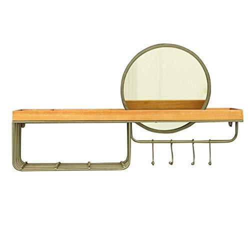 ZYLZL Toallero de Baño Estantes de Madera Iza Simples Montados en la Pared Gancho de Pared de Hotel Europeo Espejos Hierro Forjado S