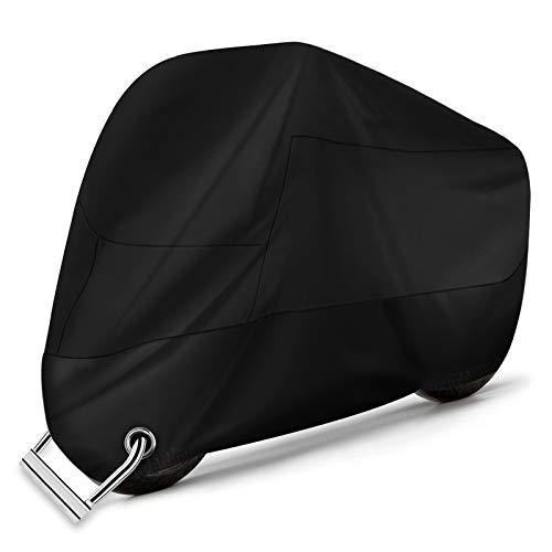Alfheim Housse Protection pour Moto - Couvertures Respirantes imperméables de Moto de Tissu d'Oxford 210D avec 2 Trous de Serrure Antivol-UV/Neige/Pluie/Rouille - Anti-poussière pour Honda,Yamaha,XXL