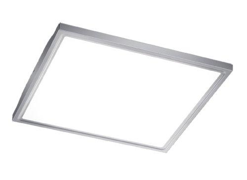 Trio Leuchten LED Deckenaufbauleuchte in Edelstahl, Acryl weiß, 40x40cm, 622714007