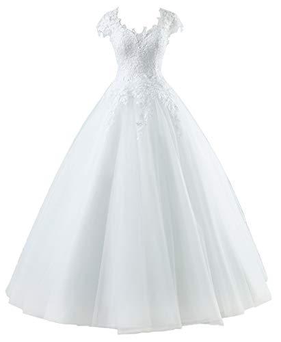 Brautkleider Lang Prinzessin Hochzeitskleider Spitzen Standesamtkleid A-Linie Tüll Strand Brautmode Weiß 40