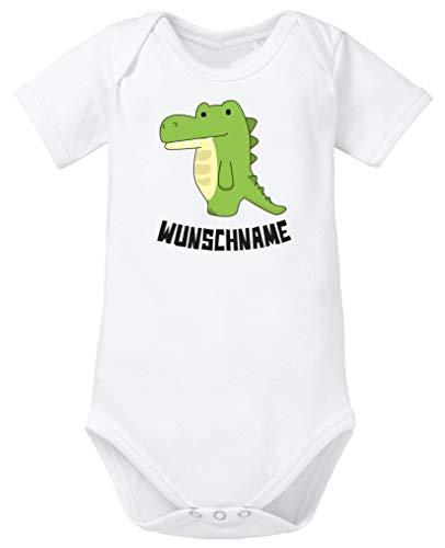 Comedy Shirts - Clipart Krokodil - Wunschname - Baby Body - Weiss/Schwarz Gr. 68