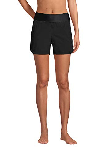 Lands' End Womens Comfort Waist 5in Swim Short Panty Black Regular 4