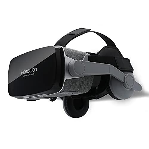 VOGMOGO Gafas 3D VR Gafas de Realidad Virtual, [Regalos Navidad] Gafas VR Visión Panorámico 360 Grado Película 3D Juego Immersivo para Móviles 4.7-6.6 Pulgada Android y Apple (Gafas VR con Auricular)