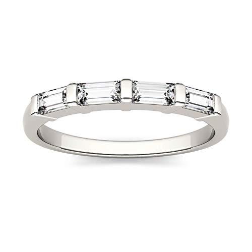 Charles & Colvard Forever One anillo de boda - Oro blanco 14K - Moissanita de 4.0 mm de talla baguette, 0.464 ct. DEW, talla 14,5