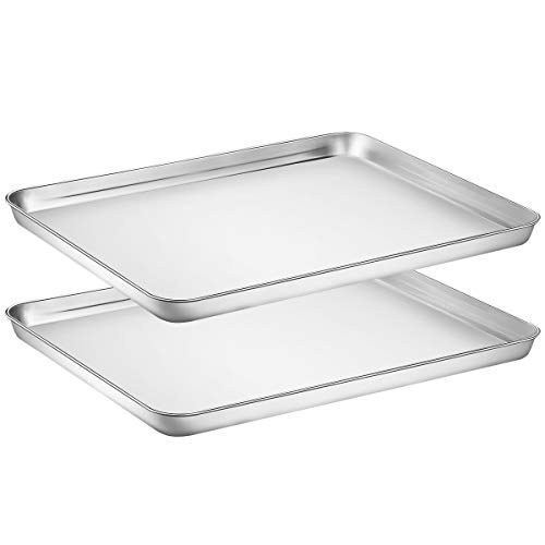Footek Stainless Steel Cookie Sheet for Toaster Oven, 16L×12W×1H inch, Healthy & Non Toxic, Superior Mirror Finish & Easy Clean, Dishwasher, ishwasher Safe