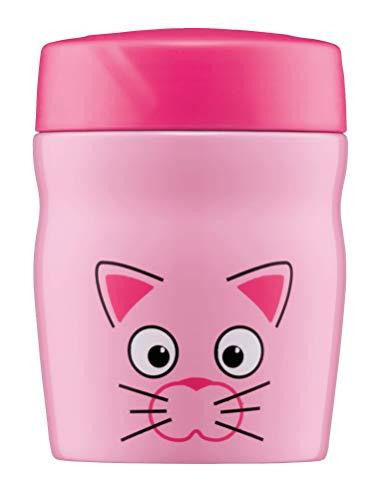 alfi Thermobehälter für Essen Kinder foodMug, Edelstahl 350ml Pink Katze, Kinder Speisegefäß für Schule, Kindergarten, 0637.101.035, auslaufsicher, BPA-Frei, 6 Stunden heiß, 12 Stunden kalt