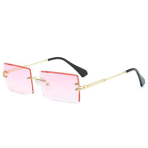 ShZyywrl Gafas De Sol De Moda Unisex Gafas De Sol Sin Montura Rectangulares Pequeñas para Hombres Y Mujeres, Gafas De Sol Cuadradas De Metal A La Moda para Muj