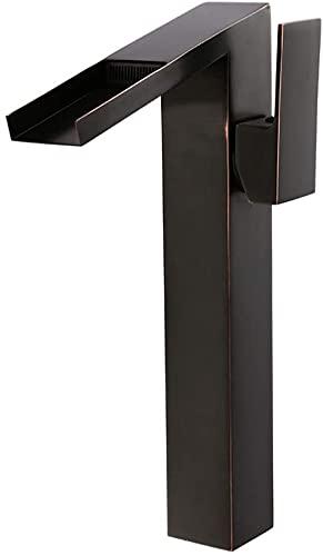 Grifo de baño negro retro Grifo de lavabo de cascada alta Grifo mezclador de una sola palanca Grifo de lavabo de encimera Caño ancho alto
